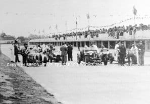 Bugatti LMB Special, Alfa Romo 8C and Maseratis. Photo at Brooklands , late 1930s