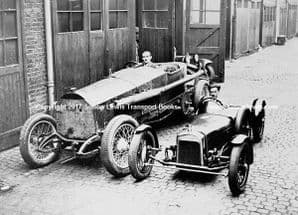 CHITTY BANG BANG (Arbuthnot)and WALMSLEY SPECIAL (Birks)in Lancaster Gate Mews 1934