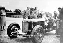 DUESENBERG Indianapolis Car.Photo .possibly Buddy Featherstonehaugh at Brooklands  c.1935