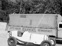 ERA R7B parked with Auto Union Team truck at Donington GP 1937