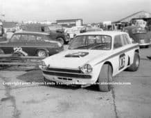 """Ford Cortina V8 """"Fraud Cortina"""" Terry Sanger or Terry Drury Silverstone paddock c.1967"""