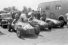 HWM cars lined up at Silverstone 1952