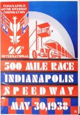 """INDIANAPOLIS 500 1938 reproduction poster 25 x 18""""(630x470mm)"""
