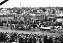 Jaguar D Types Hawthorn/ Bueb (1st) and Claes/Swaters (2md) in pits Le Mans 1955