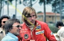 JAMES HUNT and BERNIE ECCLESTONE In pit lane, Brazil GP 1975 10x7""