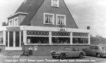 Jensen 541R (1958)  VLX 988 outside French Cafe probably early 1960s