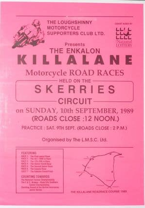 KILLALANE Mortorycle road race Poster 1989. Skerries.Ireland  25 x 18