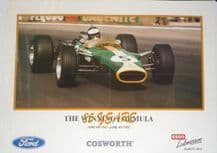"""LOTUS 49 Jim Clark COSWORTH FORD 25 Years 1967-1992 Poster 23 x 16"""" (590 x 400mm)"""