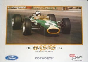 LOTUS 49 Jim Clark COSWORTH FORD 25 Years 1967-1992 Poster 23 x 16