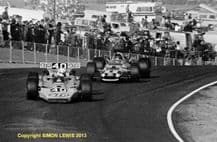 """LOTUS 56 Plymouth. George Follmer leads Bobby Unser (Eagle) Riverside USAC 1969 10x7"""" photo"""