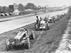 Maserati 4CL and 8CM and others retired at Brooklands circa 1938