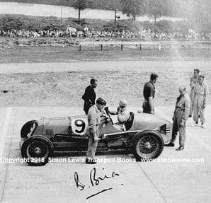 Maserati 8CM. Photo. B Bira JCC 200 Miles 1938 . Brooklands Campbell circuit (printed autograph)