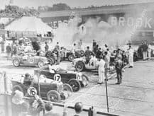 MG C Type Montlhery Midgets and Riley 9s, start of 1931 BRDC 500. Brooklands.   photo