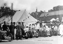 MG C Types(Evans/Letts &  Watson/Elwes)& Austin 7 Clogs . Photo  at Brooklands 1933 500.
