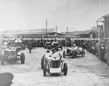 MG, Invicta, Austin 7 etc leaving paddock at Brooklands circa 1935.