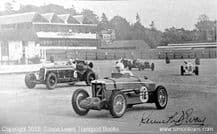 MG K3 Kenneth Evans leads Alfa Romeo . Photo  at Brooklands  unknown date (Printed Autograph)