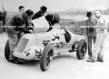 MG R Type. Photo.  G E T Eyston and team at  Brooklands c.1935