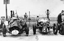 Morgan 3 wheeler and Vale Special. Photo. Brooklands paddock 1930s Relay Race