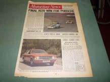 MOTORING NEWS 1970 Oct 15 917s win Zeltwig 1000, Motor Show, Lotus Twin Cam F2, Rally of Plains