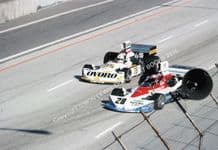 Penske PC3 . John Watson leads March 761 Arturo Merzario. Long Beach GP F1 1976