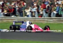 Reynard 90D  photo  Paul Warwick  1991 British F3000 test Oulton Park at speed (B)