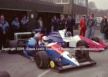 Reynard 90Ds  photo  Harald Huysman &  Paul Warwick.  1991 British F3000 test Oulton Park pits