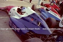 Reynard 90Ds  photo  Paul Warwick & Harald Huysman  1991 British F3000 test Oulton Park pits (a)