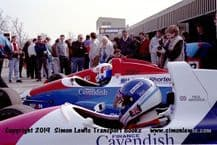 Reynard 90Ds  photo  Paul Warwick & Harald Huysman  1991 British F3000 test Oulton Park pits (C)