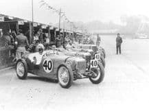 RILEY 9s 1932 Brooklands 1000 lined up before start. Photo