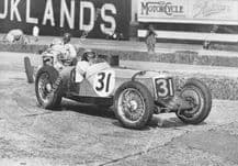 Riley , FW Dixon leads MG R Type 1935 Empire Trophy, Brooklands. photo