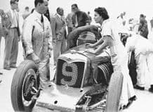 Riley Six with Mrs Kay Petre in Brooklands paddock 1936 BRDC 500