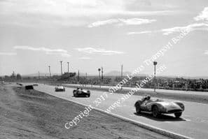 Scarab (Pabst) Lister-Chevy(Constantine)Maserati Birdcage(Jeffords) photo Riverside Times GP 1960.