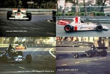 SHADOW DN1  F1 - set of 4x photos of Graham Hill & George Follmer Spanish GP 1974