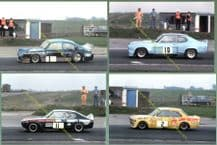 SUPER SALOONS 4x photos Snetterton 1976 Ford, VW, STRAWSON, HAWKER, WHITING etc