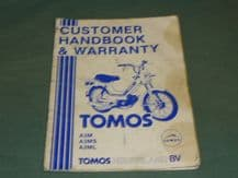 TOMOS A3M A3MS A3ML Customer Handbook & Warranty (1989) book