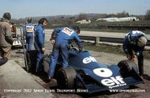 Tyrrell 007 photo. Pits at Goodwood test 1974