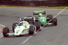 WILLIAMS FW08 (Rosberg) Leads Tyrrell 011 (Sullivan). Photo. 1983 Brands Race of Champions F1