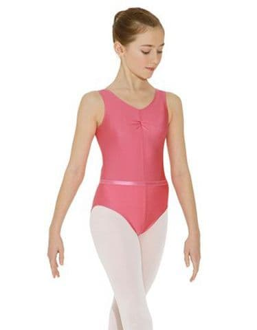 Roch Valley ISTDS Sleeveless Ballet Dance Leotard with Belt Rose Pink Only