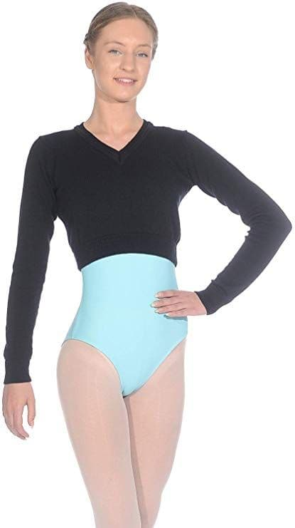 Roch Valley Long sleeved acrylic V neck cropped jumper with thumb holes RVKNIT