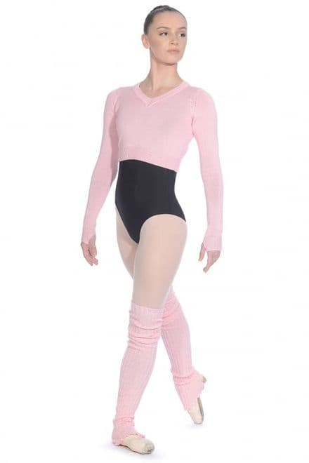 Roch Valley Long sleeved acrylic V neck cropped jumper with thumb holes RVKNIT-Pink