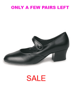 Roch Valley PVC/BC Character - Stage Dance Shoes with Button Fasten & Cuban Heel
