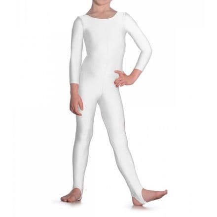 Roch Valley WHITE Scoop Neck Long Sleeved Nylon, Lycra Catsuit, L109W for Dance, Jazz, Tap