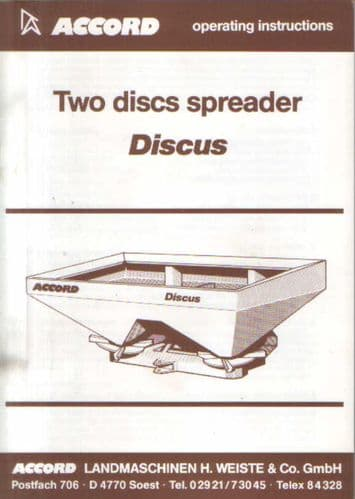 Accord Discus Two Discs Spreader Operators Manual