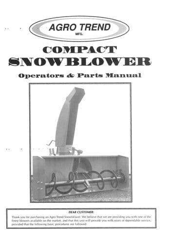 Agro Trend Compact Snow Blower Operators Manual and Parts List