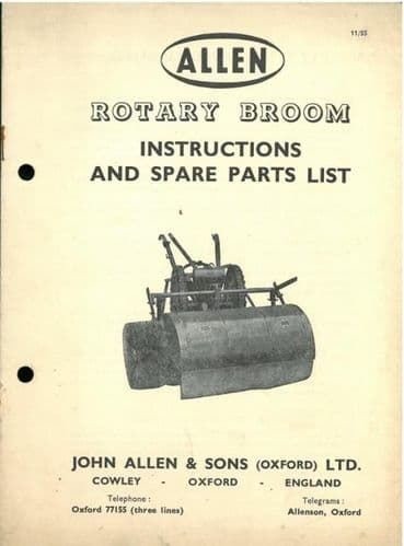 Allen Scythe Rotary Broom Operators Manual with Parts List