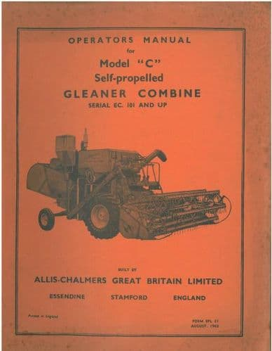 Allis Chalmers Gleaner Combine Model Super C Operators Manual