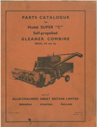 Allis Chalmers Gleaner Combine Model Super C Parts Manual