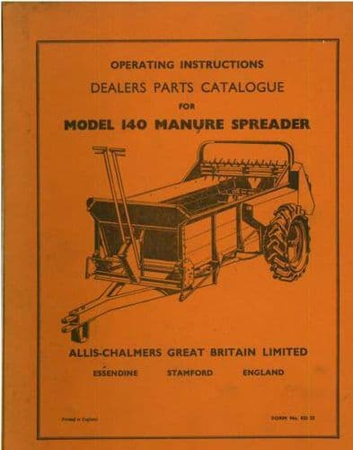 Allis Chalmers Manure Spreader Model 140 Operators Manual with Parts List