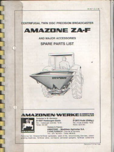 Amazone ZA-F 402 ZA-F 603 ZA-F 803 ZA-F 1003 Centrifugal Twin Disc Fert Broadcaster Parts Manual