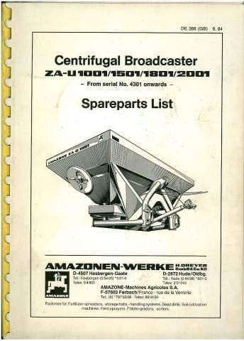 Amazone ZA-U 1001 1501 1801 2001 Centrifugal Broadcaster Parts Manual